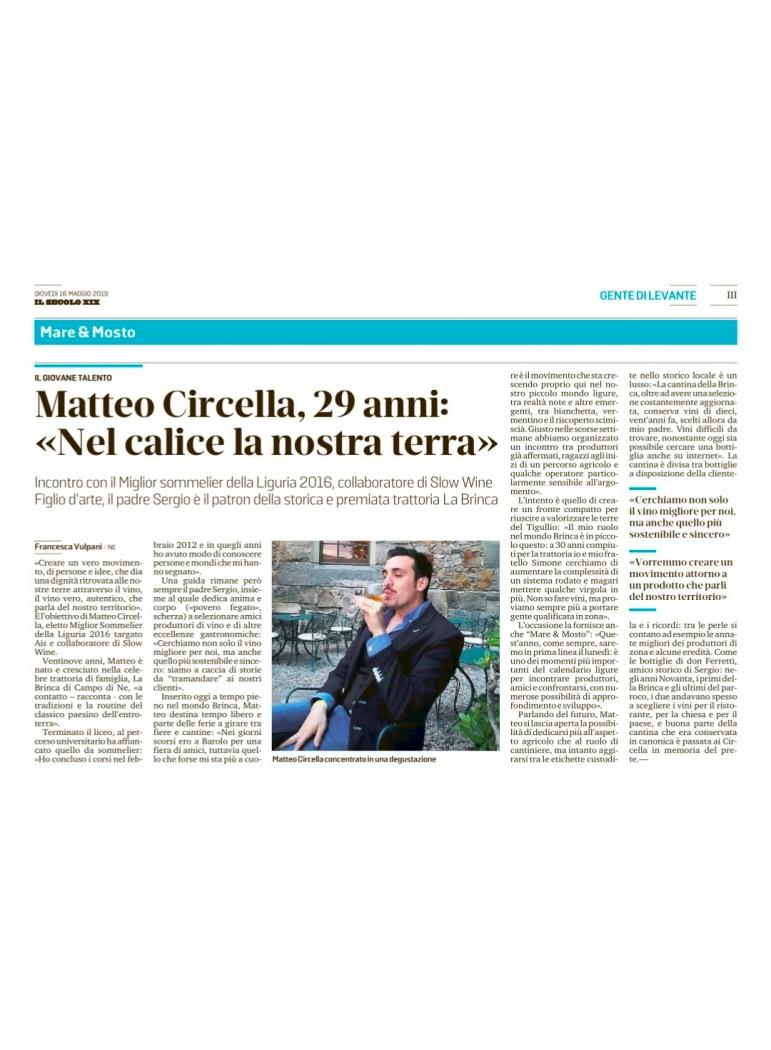 """Matteo Circella, 29 anni: """"Nel calice la nostra terra"""""""