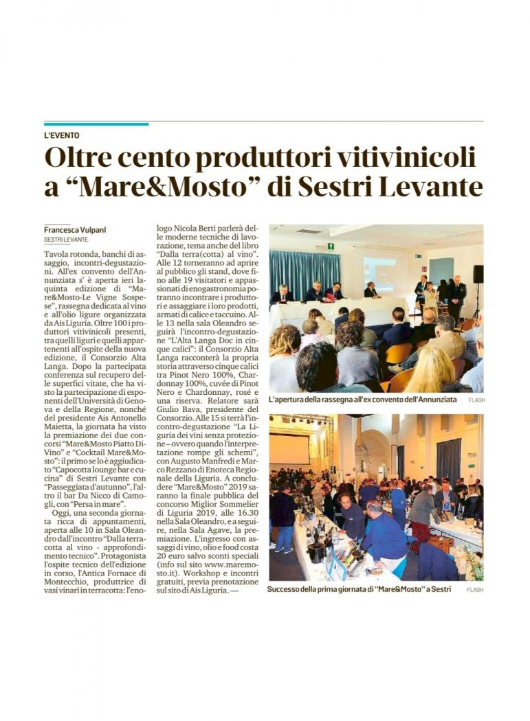 """Oltre cento produttori vitivinicoli a """"Mare&Mosto"""" di Sestri Levante"""