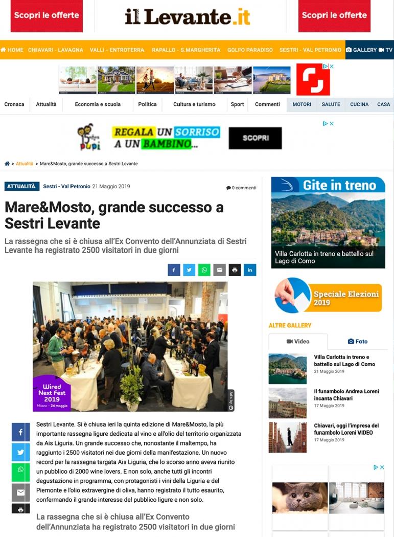 Mare&Mosto, grande successo a Sestri Levante