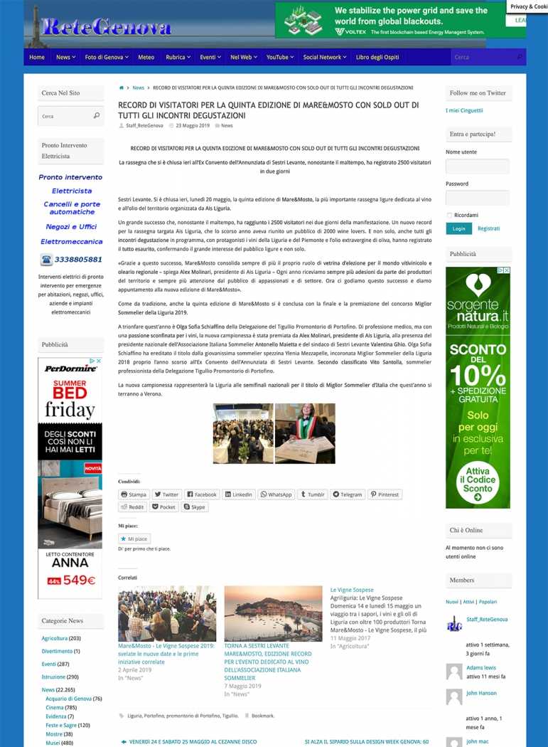 Record di visitatori per la quinta edizione di Mare&Mosto con sold out di tutti gli incontri degustazioni