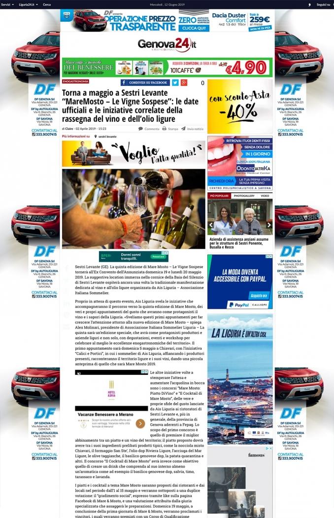 """Torna a maggio a Sestri Levante """"MareMosto – Le Vigne Sospese"""": le date ufficiali e le iniziative correlate della rassegna del vino e dell'olio ligure"""