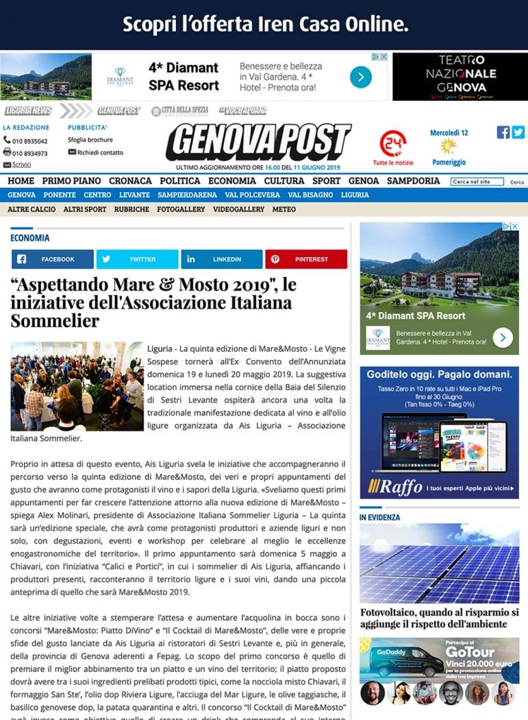 """""""Aspettando Mare & Mosto 2019"""", le iniziative dell'Associazione Italiana Sommelier"""