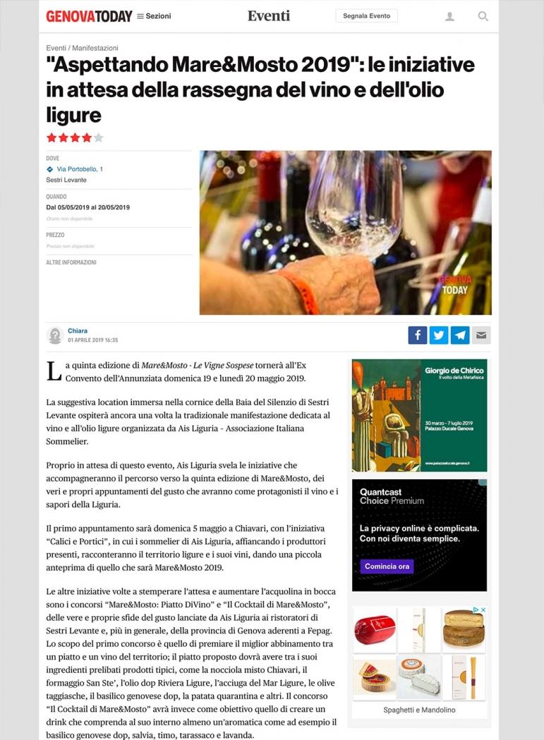 """Aspettando Mare&Mosto 2019"""": le iniziative in attesa della rassegna del vino e dell'olio ligure"""