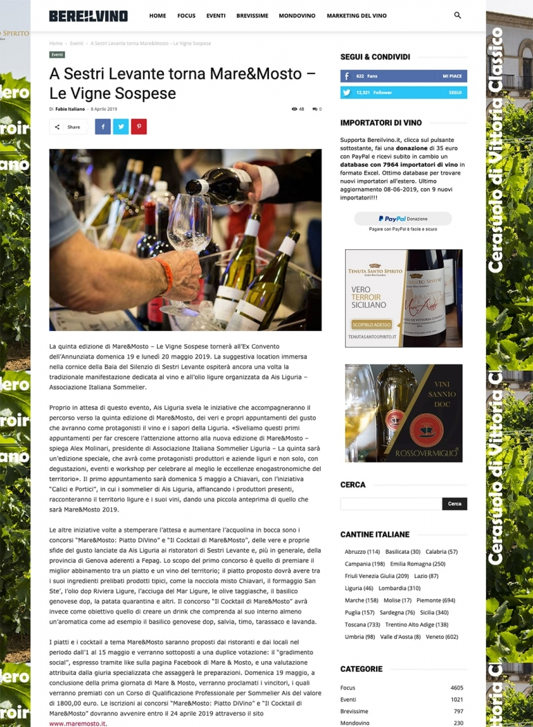 A Sestri Levante torna Mare&Mosto – Le Vigne Sospese