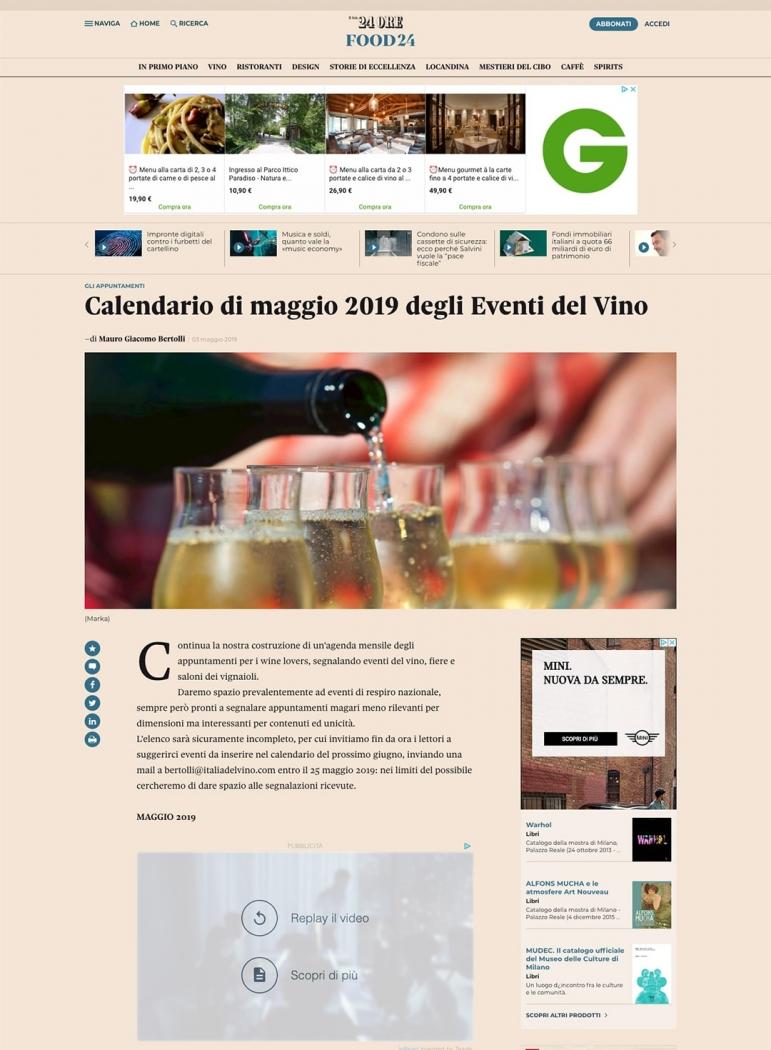 Calendario di maggio 2019 degli Eventi del Vino