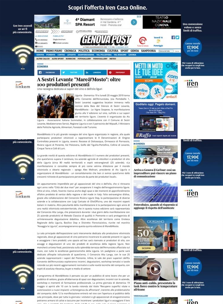 """A Sestri Levante """"Mare&Mosto"""": oltre 100 produttori presenti"""