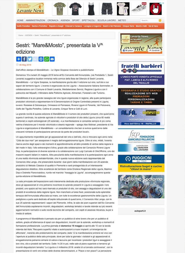 """Sestri: """"Mare&Mosto"""", presentata la V^ edizione"""