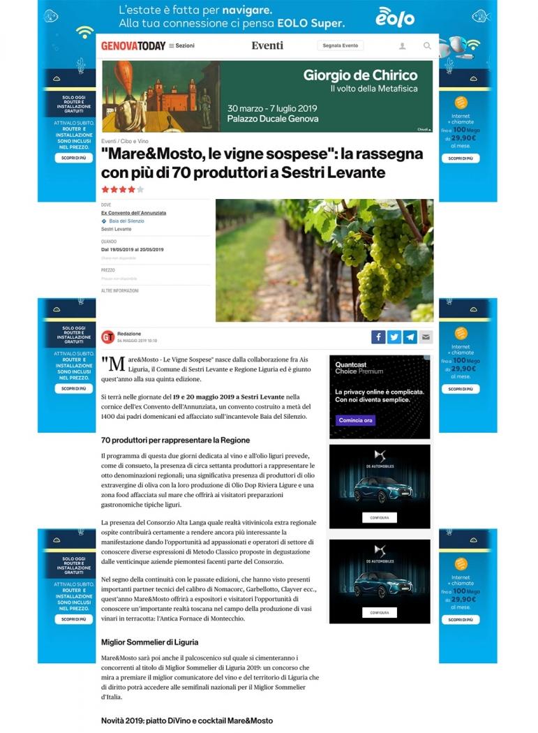 Mare&Mosto, le vigne sospese: la rassegna con più di 70 produttori a Sestri Levante