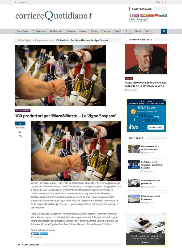 100 produttori per 'Mare&Mosto – Le Vigne Sospese'