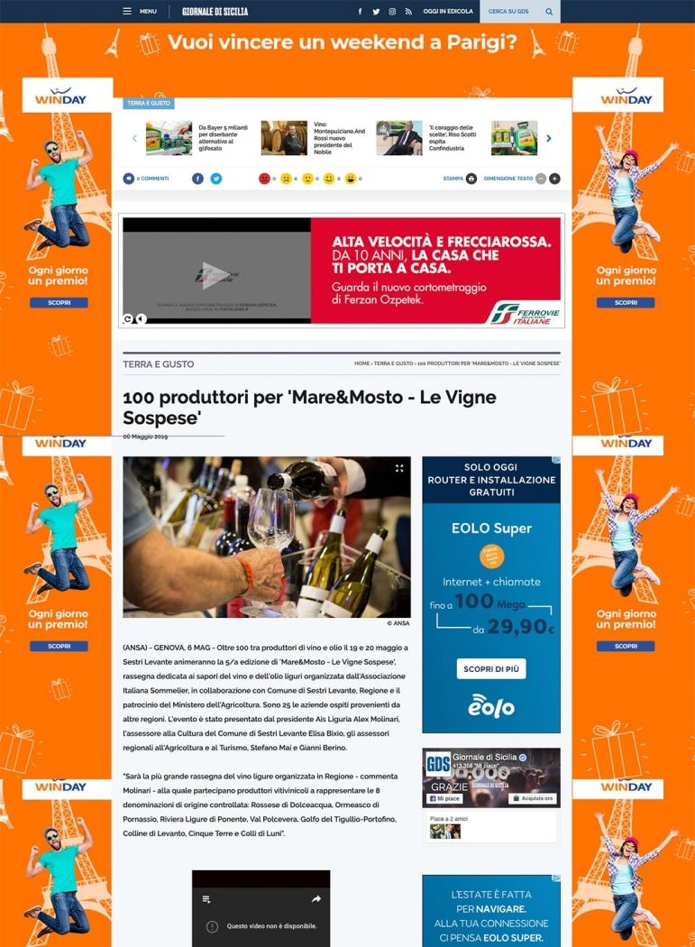100 produttori per 'Mare&Mosto - Le Vigne Sospese'