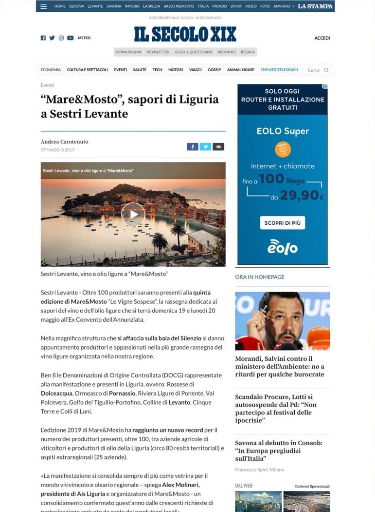 """""""Mare&Mosto"""", sapori di Liguria a Sestri Levante"""