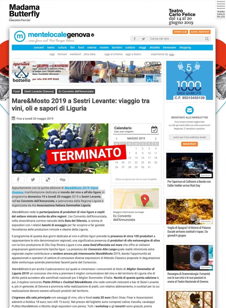 Mare&Mosto 2019 a Sestri Levante: viaggio tra vini, oli e sapori di Liguria