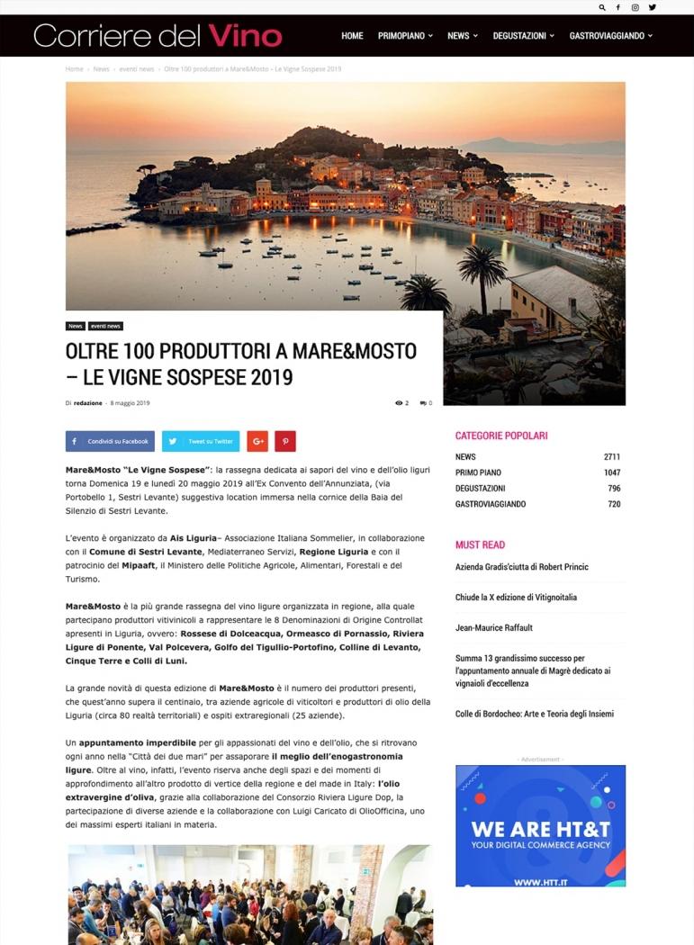 Oltre 100 produttori a Mare&Mosto - Le vigne sospese 2019