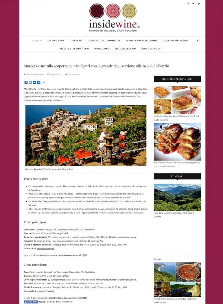 Mare&Mosto: alla scoperta dei vini liguri con la grande degustazione alla Baia del Silenzio