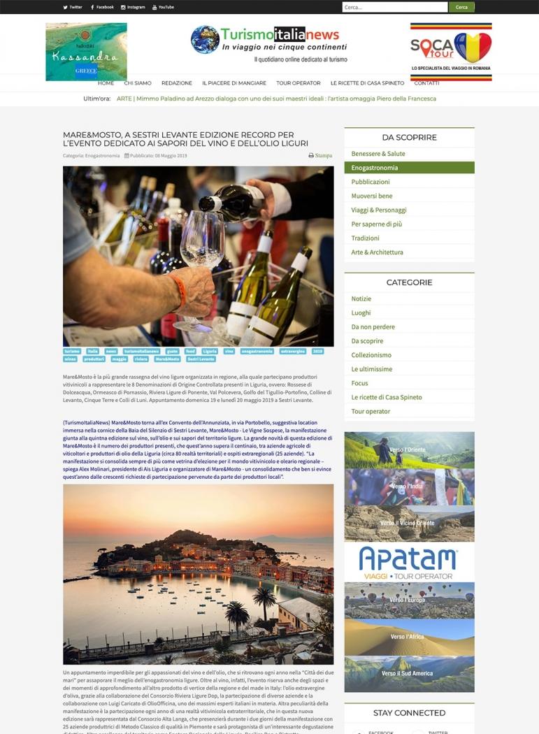 Mare&Mosto, a Sestri Levante edizione record per l'evento dedicato ai sapori del vino e dell'olio liguri
