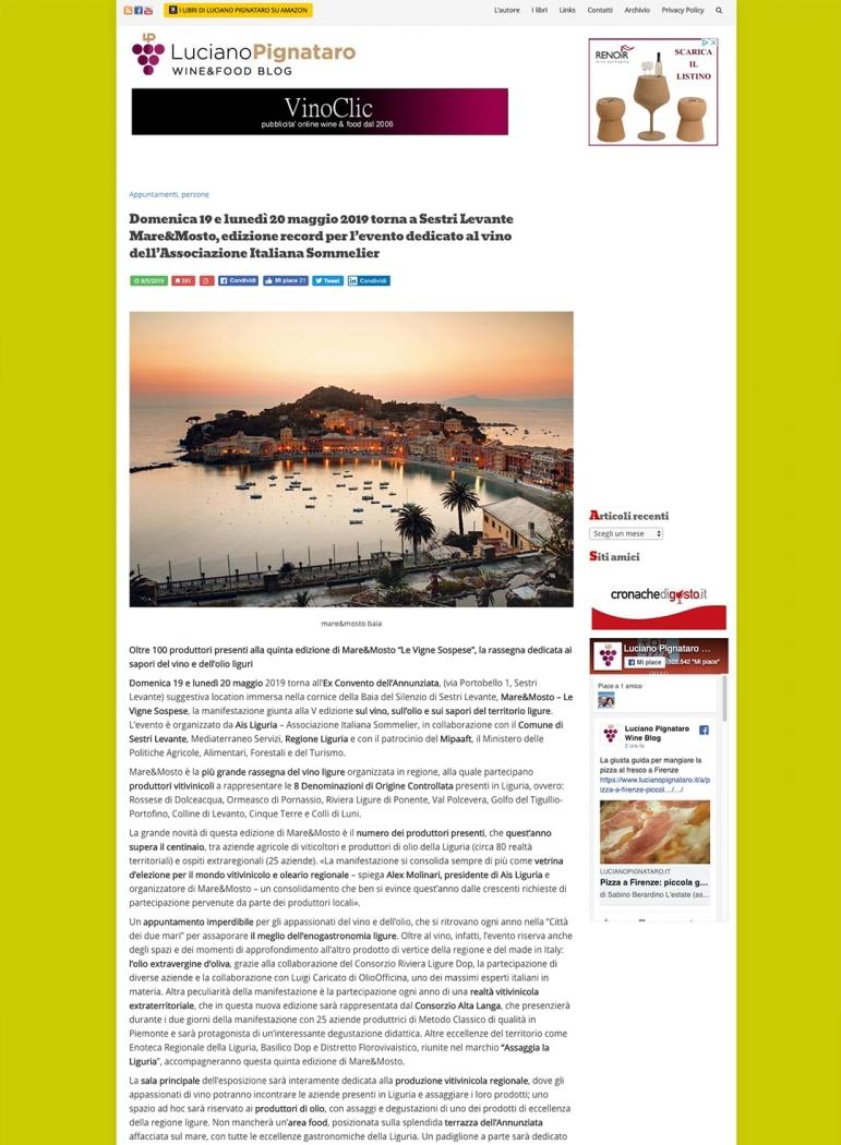 Domenica 19 e lunedì 20 maggio 2019 torna a Sestri Levante Mare&Mosto, edizione record per l'evento dedicato al vino