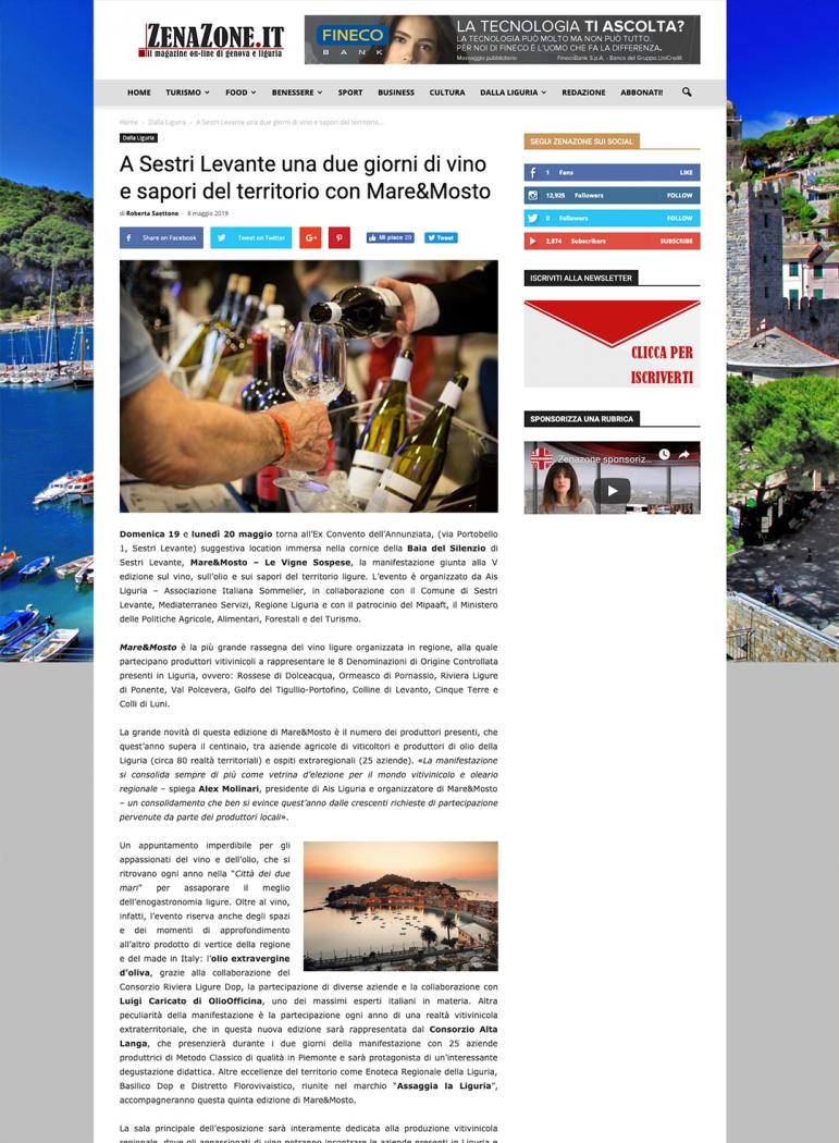 A Sestri Levante una due giorni di vino e sapori del territorio con Mare&Mosto