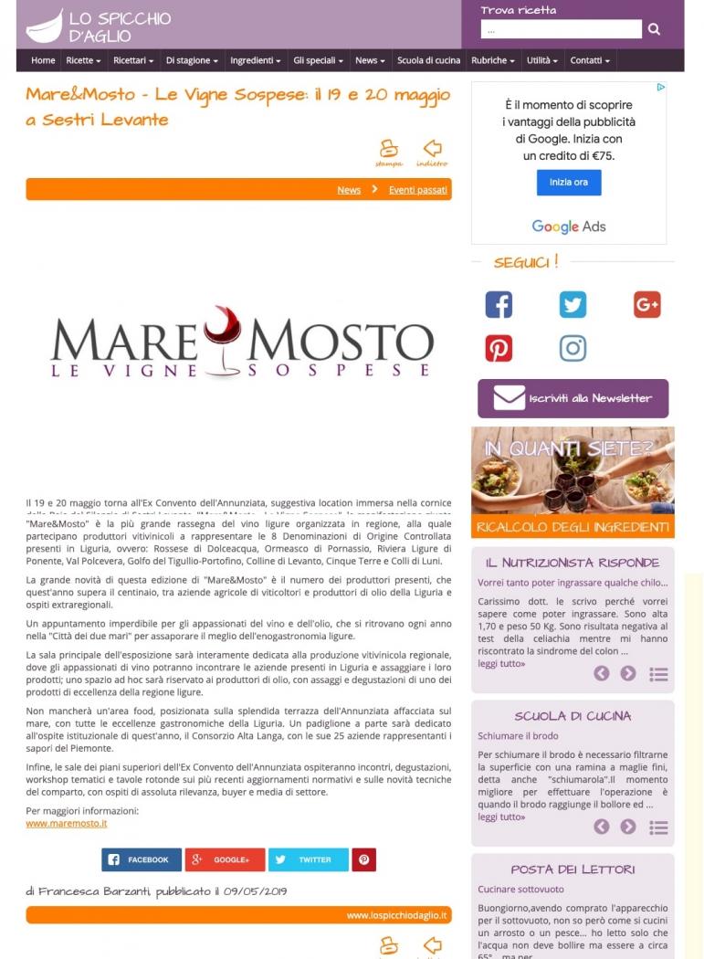 Mare&Mosto - Le Vigne Sospese: il 19 e 20 maggio a Sestri Levante