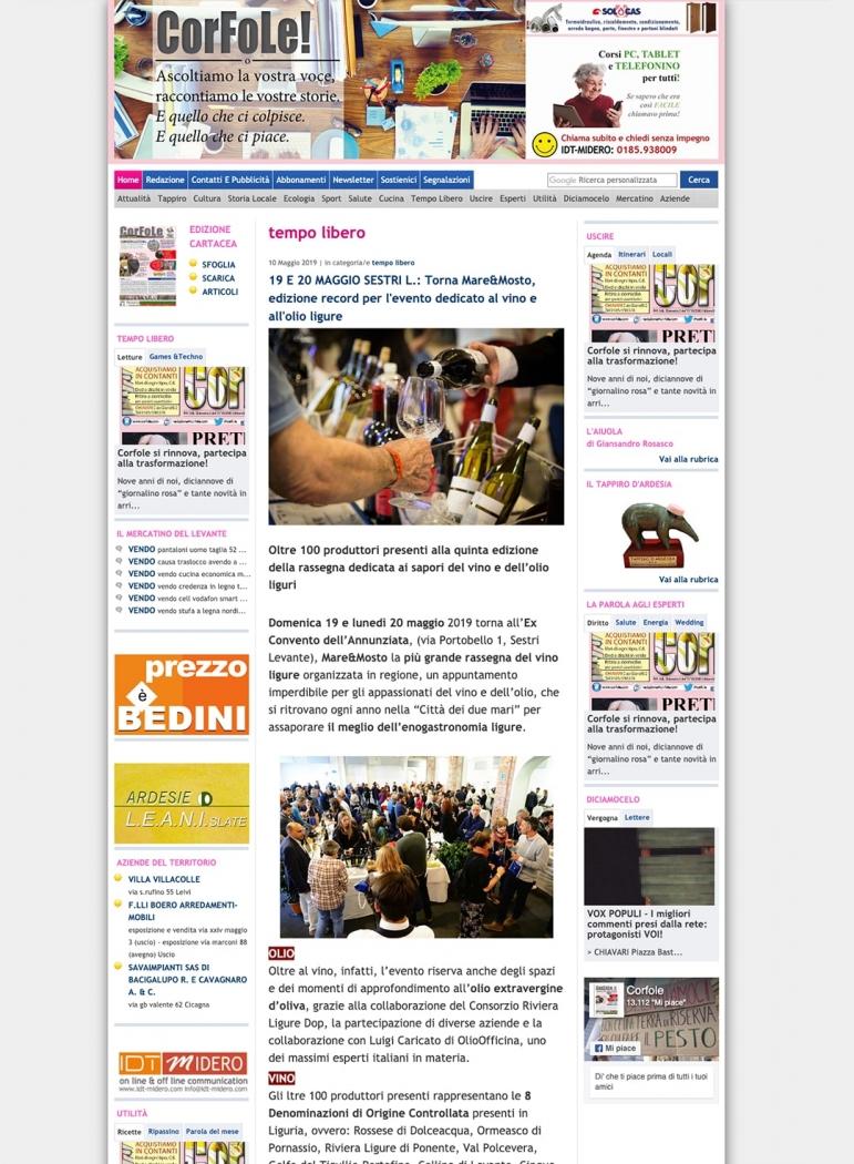 19 E 20 MAGGIO SESTRI L.: Torna Mare&Mosto, edizione record per l'evento dedicato al vino e all'olio ligure