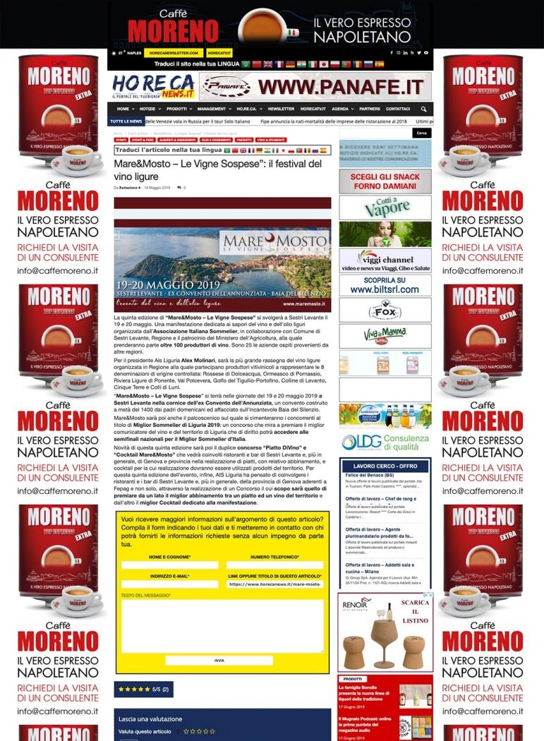 """Mare&Mosto – Le Vigne Sospese"""": il festival del vino ligure"""