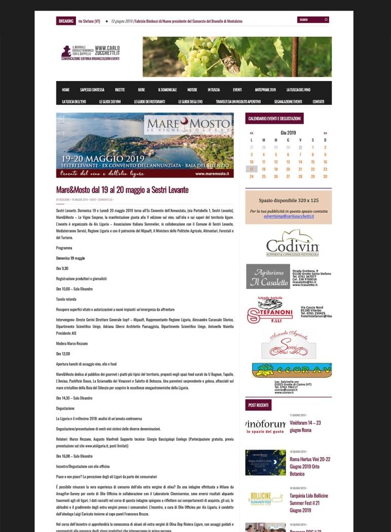 Mare&Mosto dal 19 al 20 maggio a Sestri Levante