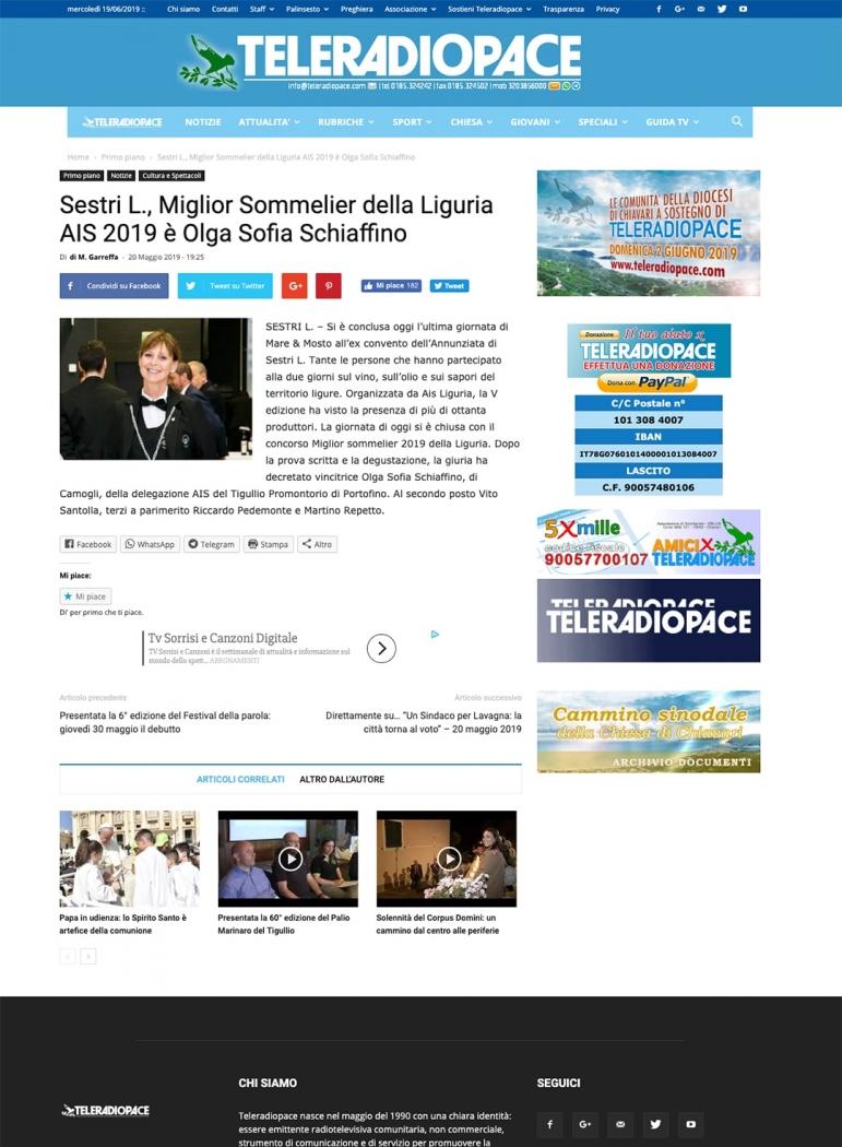 Sestri L., Miglior Sommelier della Liguria AIS 2019 è Olga Sofia Schiaffino