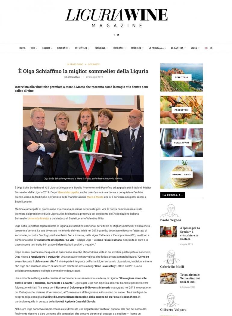 È Olga Schiaffino la miglior sommelier della Liguria